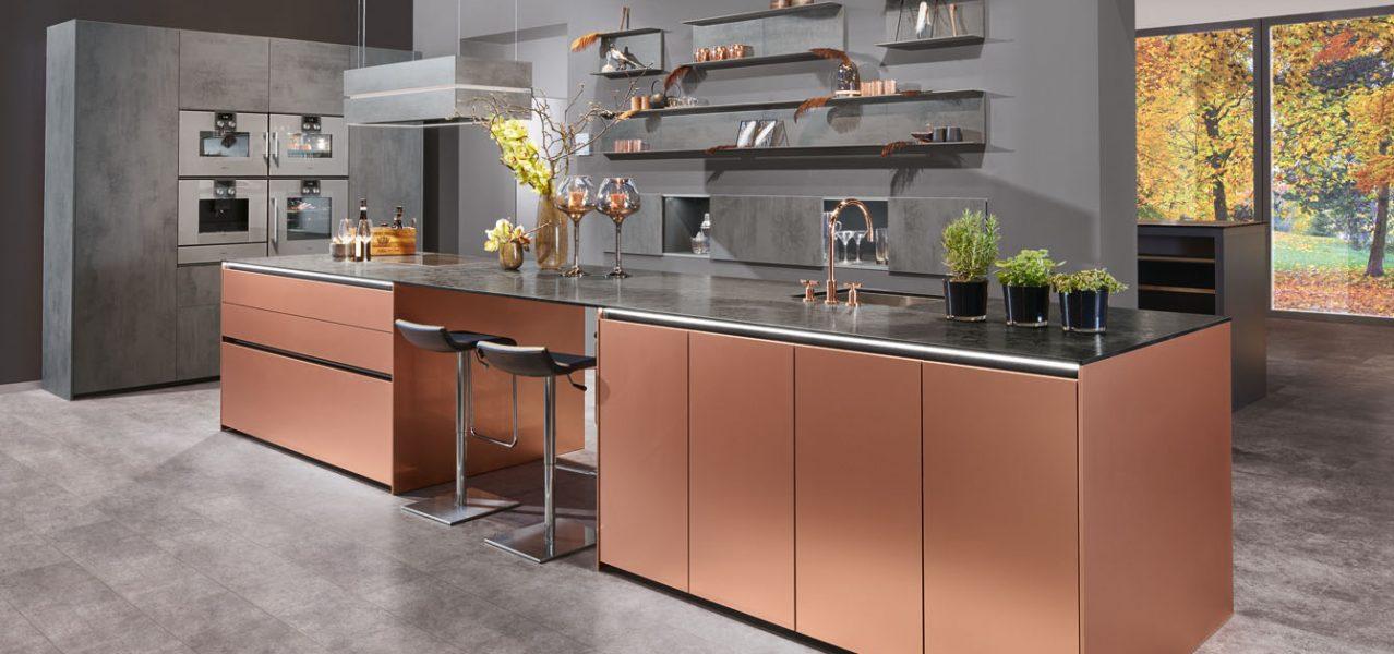 copper colour kitchen