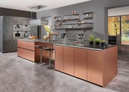 copper colour kitchen