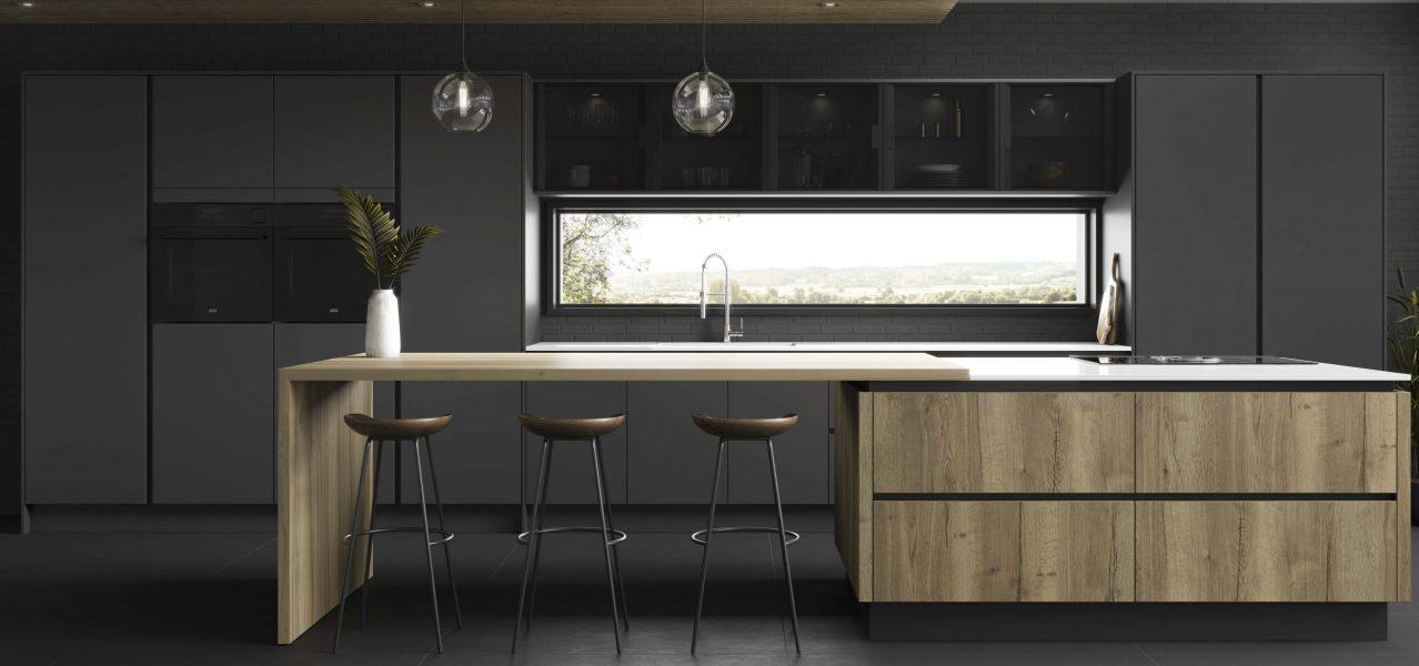 budget wood finish kitchen