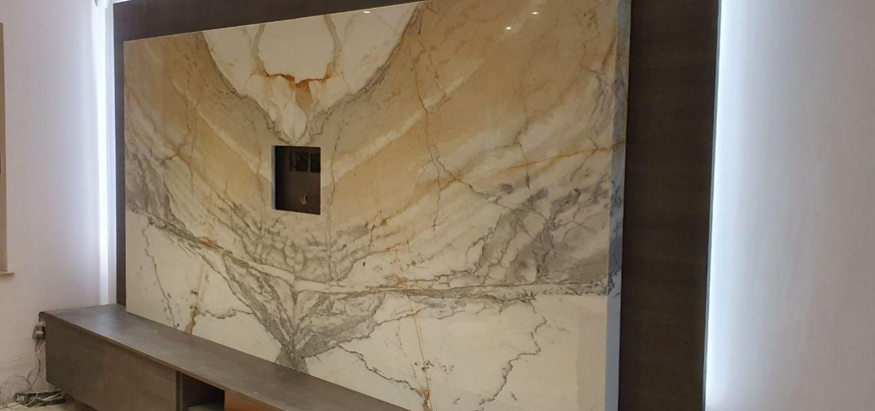 Calacatta Gold TV feature wall