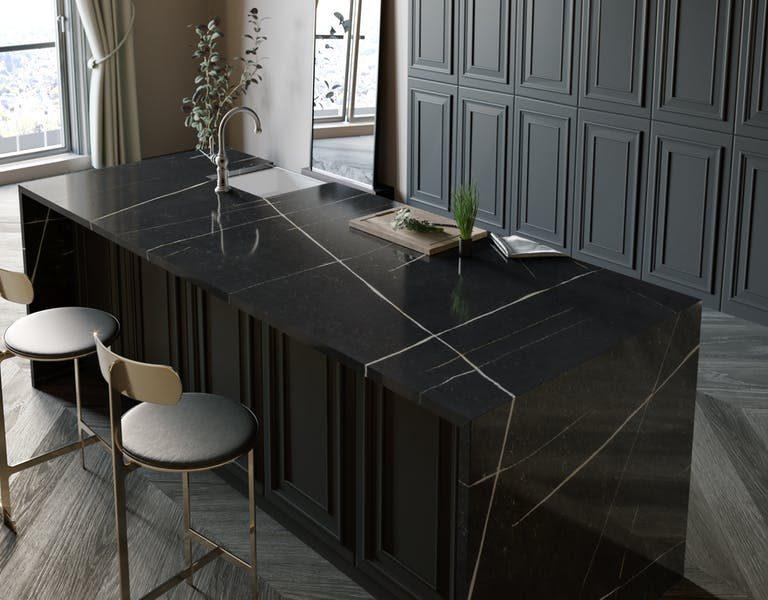 black quartz kitchen